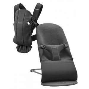 Babybjorn - BU006 - Pack nouveau-né (transat bliss, porte-bébé) Gris charbon, Jersey 3D (453021)