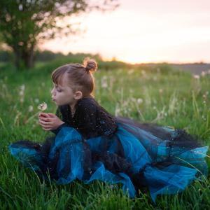 Great Pretenders - 32985 - Luna la sorcière de minuit, robe et coiffe, taille EU 104-116 - Ages 4-6 years (454650)