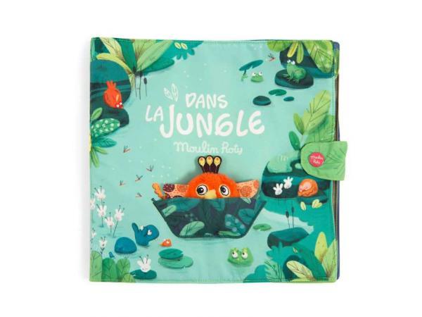Grand livre tissu d'activités dans la jungle