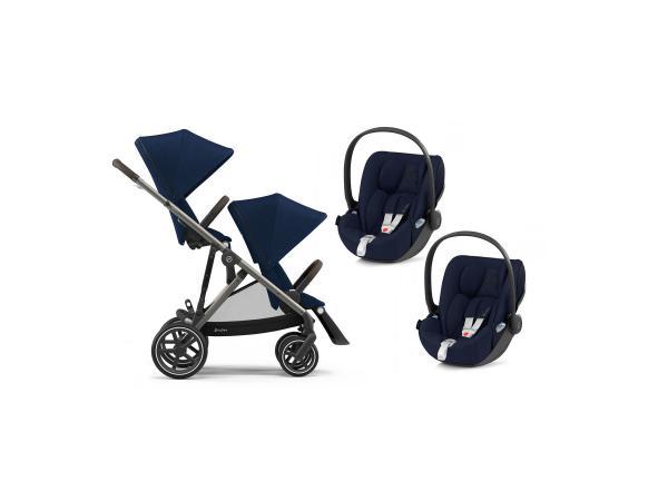 Poussette twin gazelle s avec sièges auto cloud - taupe navy blue - bleu