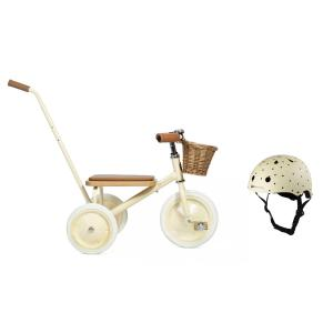 Banwood - BU5 - Tricycle crème avec panier et casque crème étoiles (456426)
