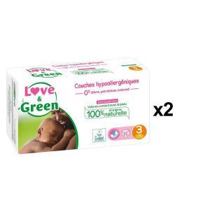 Love And Green - BU33 - Couches Bébé Hypoallergéniques 0% - Taille 3 (4-9 kg), 52 couches - X2 (456560)