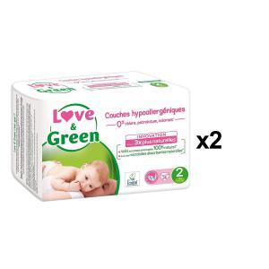 Love And Green - BU45 - Couches Bébé Hypoallergéniques 0% - Taille 2 (3-6 kg) - 36 couches - X2 (456584)