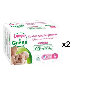 Love And Green - BU53 - Couches Hypoallergéniques 23 Couches Taille 1 (2-5 kg) - X2 (456600)