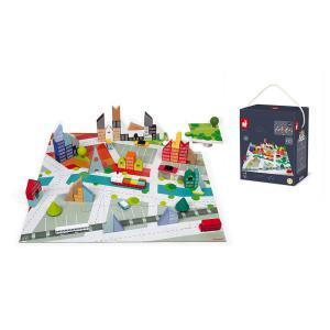 Janod - J08304 - Kubix 60 blocs + puzzle ville (458798)