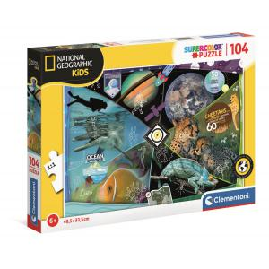 Clementoni - 25715 - Puzzle National Geographic Kids 104 pièces - Explorers in Training (460860)