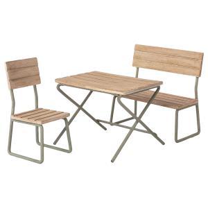 Maileg - 11-1113-00 - Mobilier de jardin miniature, table, chaise & banc - Mini - 9 cm (460924)