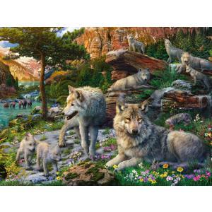 Ravensburger - 16598 - Puzzle 1500 pièces - Loups au printemps (461354)