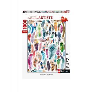 Nathan puzzles - 87640 - Puzzle N 1000 pièces - Aquarelles de plumes (461678)