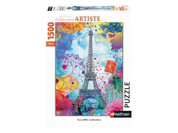 Puzzle n 1500 pièces - tour eiffel multicolore