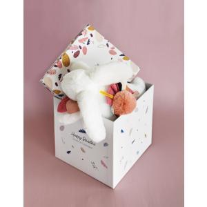 Doudou et compagnie - DC3736 - HAPPY BOHO - Pantin pompon terracotta 25 cm en boîte carton (463282)