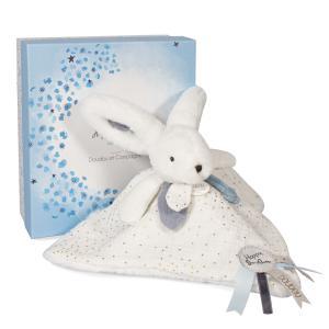 Doudou et compagnie - DC3742 - HAPPY GLOSSY - Doudou pompon blanc 25 cm en boîte carton (463296)