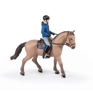 Papo - 51565 - Cheval de promenade et son cavalier - Dim. 16 cm x 10 cm x 19 cm (464578)