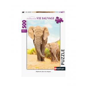 Nathan puzzles - 87134 - Puzzle N 500 pièces - Eléphants dans les steppes (46753)
