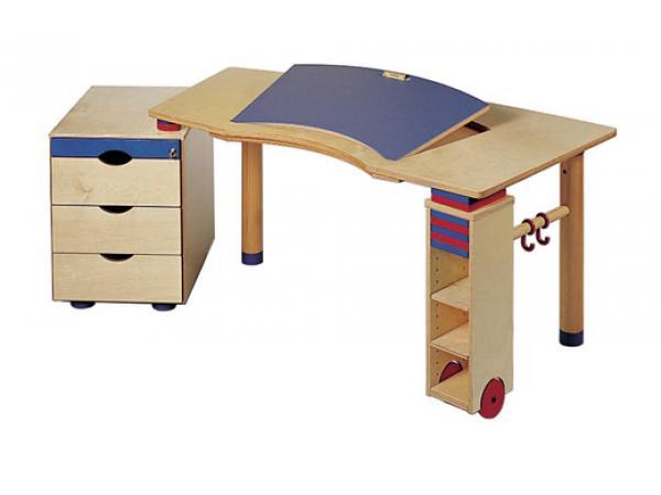 Haba bureau kontiki plateau inclinable en couleur avec tag re cd et ca - Bureau avec plateau pivotant ...