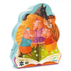 Djeco - DJ07212 - Puzzle silhouettes Les trois Petits cochons - 24 pièces (51272)