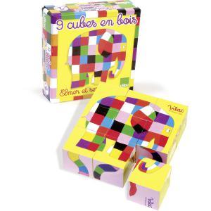 Elmer - 5901 - 9 cubes en bois Elmer (58366)
