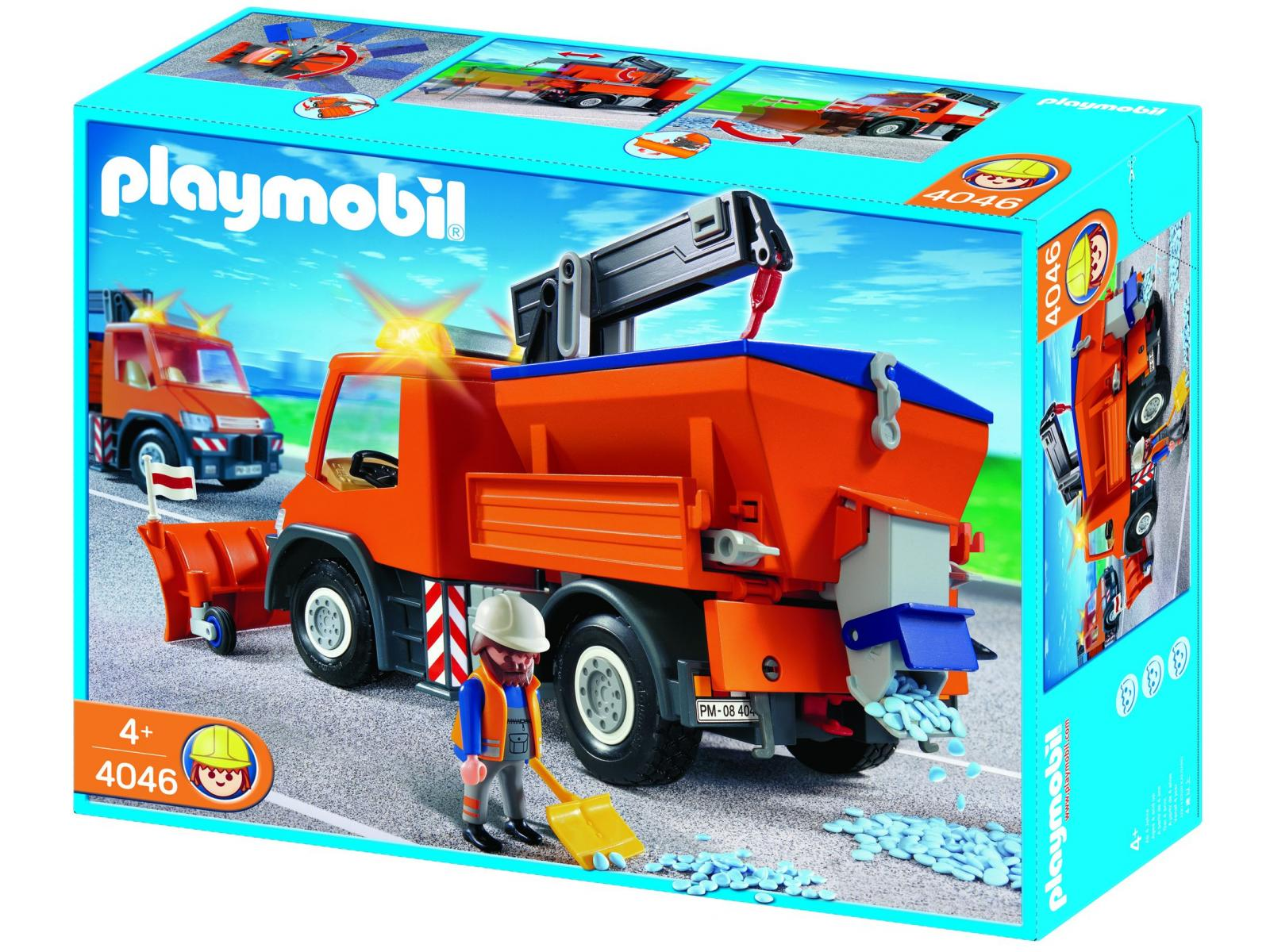 Playmobil chauffeur avec camion chasse neige 4046 - Playmobil camion chantier ...