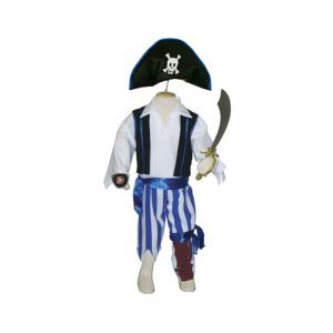 Travis - P3 - Costume Peg Leg Pirate black/white/blue - 3 à 5 ans (66238)