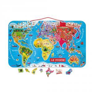 Janod - J05500 - Puzzle monde magnétique version française (68493)