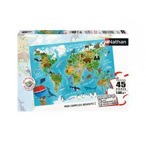 Nathan puzzles - 86028 - Puzzle 45 pièces - Carte du monde des animaux (7064)