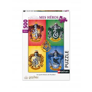Nathan puzzles - 87116 - Puzzle N 500 pièces - Les quatre blasons de Poudlard / Harry Potter (7180)
