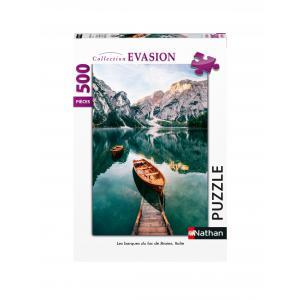 Nathan puzzles - 87121 - Puzzle N 500 pièces - Les barques du lac de Braies, Italie (7182)