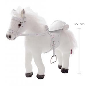 Gotz - 3401485 - Cheval en peluche, articules, 42x32 cm, selle et harnais, blanc, avec bruit  (78437)