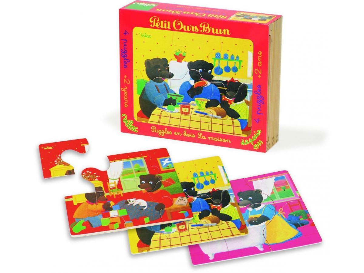 vilac puzzles 4x6 pi ces petit ours brun la maison. Black Bedroom Furniture Sets. Home Design Ideas