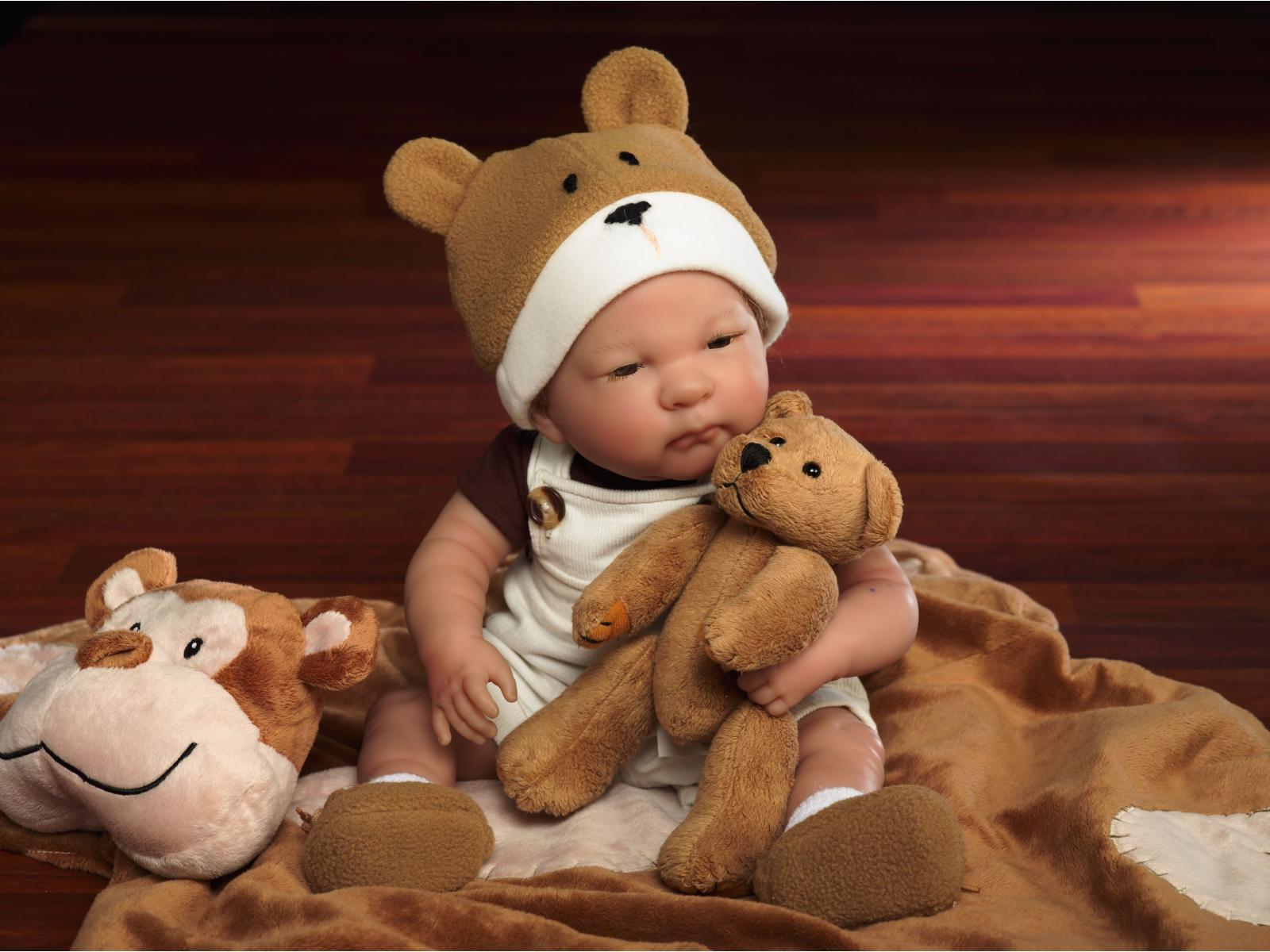 berenguer baby bear 46 cm b b avec ours en peluche corps souple tout en vinyle. Black Bedroom Furniture Sets. Home Design Ideas
