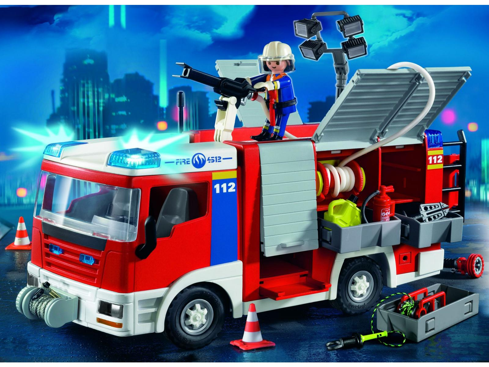 Playmobil fourgon d 39 intervention de pompier - Playmobil pompiers ...