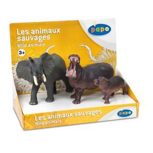 Papo - 80001 - Boîte présentoir animaux sauvages 2 (3 fig.) - Dim. 24 cm x 12,8 cm x 18,3 cm (95555)